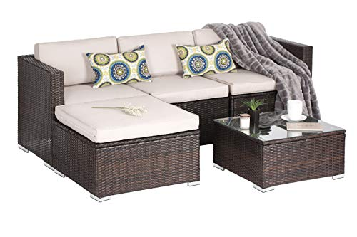 (OAKVILLE FURNITURE Outdoor Patio Furniture Sets Wicker Rattan Sectional Sofa Conversation Set Brown Wicker, Beige Cushion (5-Piece))