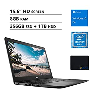 "Dell Inspiron 15.6"" HD Business Laptop, Intel 4205U, 8GB RAM, 256GB PCIe SSD + 1TB HDD, DVD Drive, Wireless AC, Bluetooth, KKE Mousepad, Win10 Pro, Black"