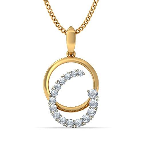 Or jaune 14K 0,29CT TW Round-cut-diamond (IJ   SI) Pendentif