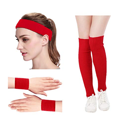 KIMBERLY S KNIT Women 80s Neon Pink Running Headband Wristbands Leg Warmers Set (Free, Red)]()