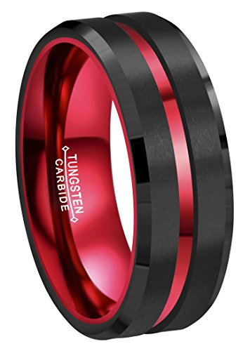 CROWNAL 8mm Red Black Tungsten Wedding Bands Rings Men Women Red Groove Matte Finish Size 6 to 16 (8mm,10) ()