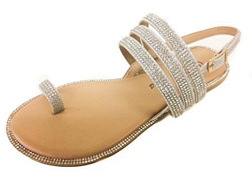 Pazzle Amber-09 Silver 6 Women Rhinestone Embellished Thong Flat Sandal Wedding Bridesmaid. Toe Ring with Slingback strap. (Sandals Rhinestone)