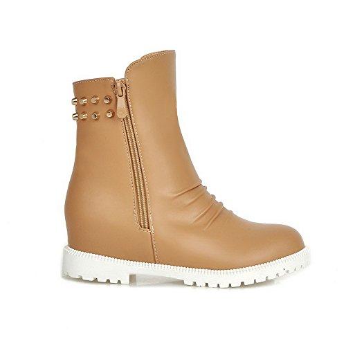AmoonyFashion Womens Zipper Kitten-Heels PU Solid Low-Top Boots Yellow wMVl9c1E