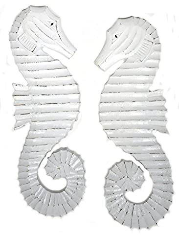 Hand Carved White Wash Wood Set of 2 Seahorses Wall Art Hanging Tropical Nautical Home Decor - Seahorse Wall Decor
