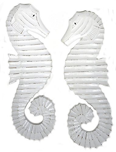 Hand Carved White Wash Wood Set of 2 Seahorses Wall Art Hanging Tropical Nautical Home Decor
