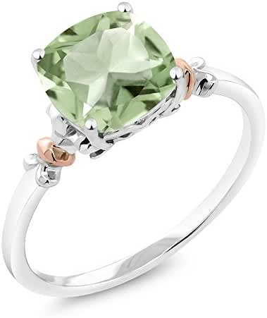 925 Sterling Silver and 10K Rose Gold Ring Green Amethyst (2.05 cttw, 8x8mm Cushion)