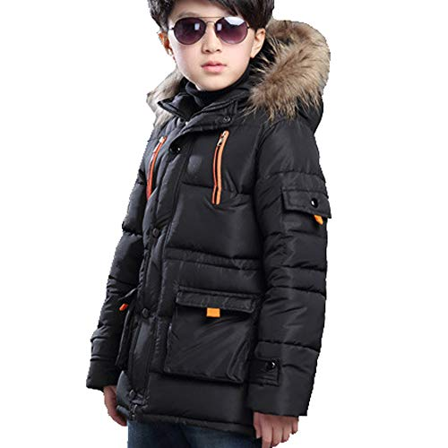 Farvalue Boys Winter Coat Warm Quilted Puffer Parka Jacket with Fur Hood for Big Boy, Black