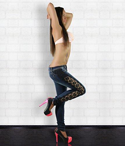 14 Donna Navy 36 8 nbsp;– 40 38 Laulia Blue 6 Hipster Skinny 10 Uk Sexy Jeans 42 nbsp;34 Taglia 12 Pantaloni Pizzo Da ET6wq1
