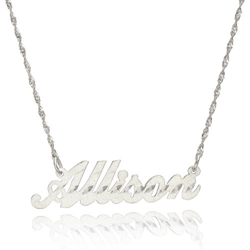 14K White Gold Personalized Stardust Finish Name Necklace (18 Inches, Singapore (White Gold Name Necklace)