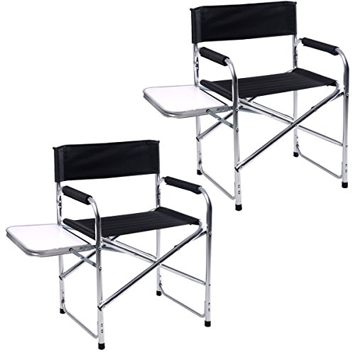 GHP Pack of 2 260Lbs Weight Limit Aluminum Folding Director's Chair with Side Table by Globe House Products