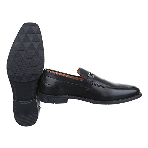 Schuhe Business Design Stil Ital Herren Blockabsatz Schwarz