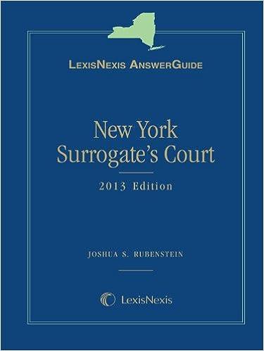 Book LexisNexis AnswerGuide New York Surrogate's Court