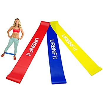 Loop Exercise Stretch Bands - URBNFit - 3 Pack w/ Workout Guide- Workouts, Stretching and Rehabilitation (Easy, Medium, Hard) - Booty Bands