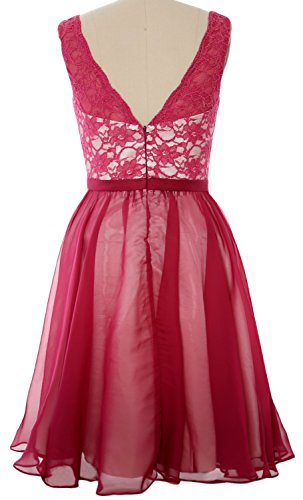 MACloth Women Halter Pleated Chiffon Long Prom Dress Wedding Party Formal Gown Wine Red