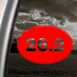 Runner Oval Marathon 26.2 (26.2 Oval Marathon Red Decal Running Runner Car Red Sticker)