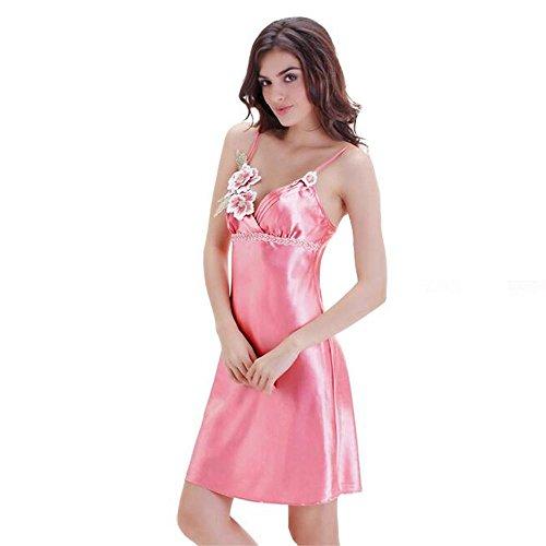 La Sra camisón de seda ligas atractivas pieza modelos de verano equipado Waipi Pink