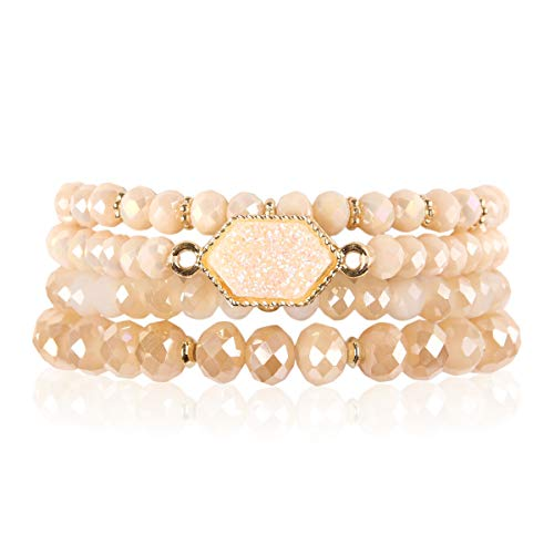 RIAH FASHION Bohemian Versatile Multi-Layer Bead Statement Bracelet - Stretch Strand Stackable Cuff Bangle Set Sparkly Crystal, Acrylic Druzy, Pave Fireball (Hexagon Acrylic Druzy - Light Brown)