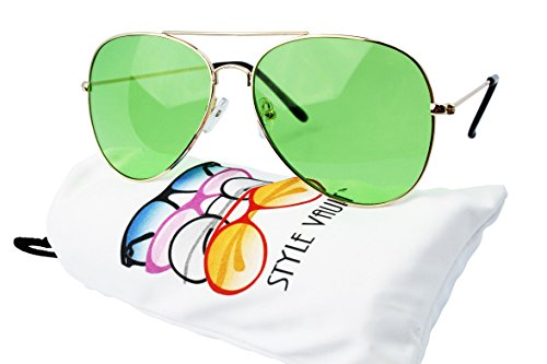 A67-vp Aviator Pilot Colored Lens Metal Sunglasses (B3386F Gold- Candy - Lenses Candy Colored