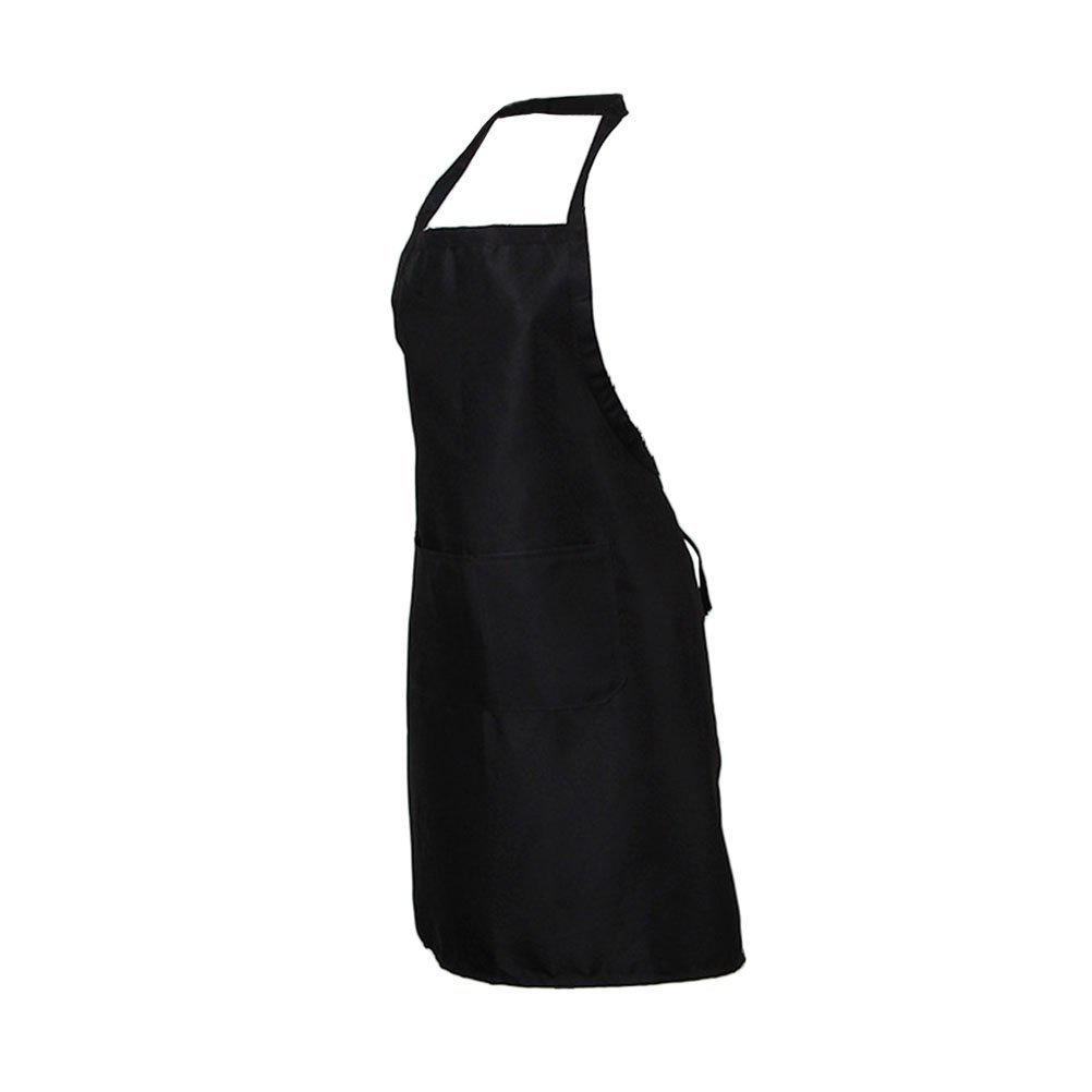 BESTOMZ Chefs Aprons Adjustable Neck Straps Apron with Two Pockets for Cooking Baking Housework 60 x 70cm (Black)