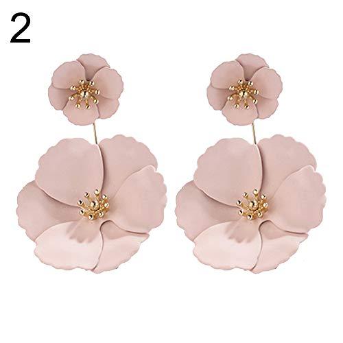 TYewa98556 Fashion Women Dual Layer FabricFlower Dangle Ear Stud Earrings Jewelry Decor - 2#