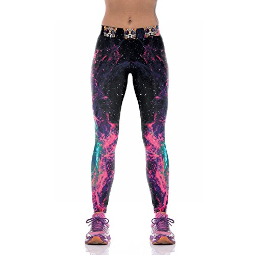 Slimming Girl Sexy Black Galaxy Print Workout High Waist Stretchy Tights Sport Leggings,Size L
