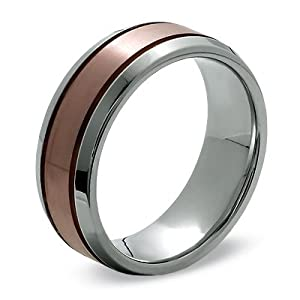 8mm titanium comfort fit band unisex wedding band ring with copper ion plated center