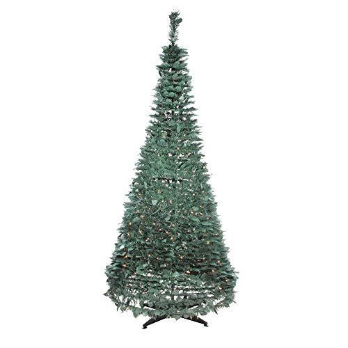 Northlight 6' Pre-Lit Green Holly Leaf Pop-Up Artificial Christmas Tree - Clear Lights