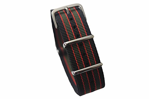 AquaNation - Watch Bands Straps - Choice Of Color 20mm Premium Heavy Duty Durable Ballistic NATO Nylon James Bonds Style Replacement Watch Bands Straps (Black Red Green) by AquaNation