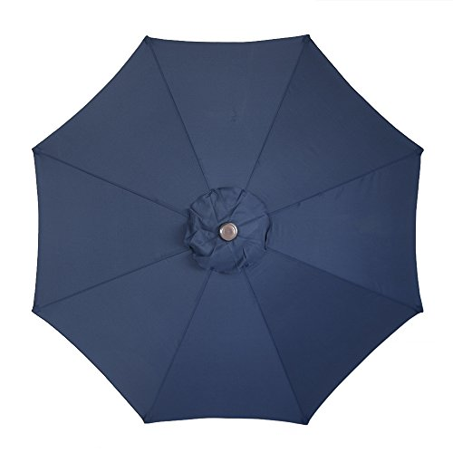 Le Papillon 9 ft 8 Ribs Patio Umbrella Replacement Top Cover, Dark Blue (Awning Replacement Patio Covers)