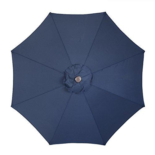 Le Papillon 9 ft 8 Ribs Patio Umbrella Replacement Top Cover, Dark Blue (Covers Patio Replacement Awning)
