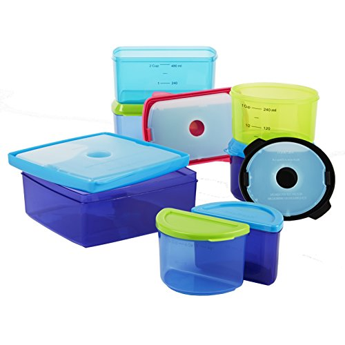 Fit & Fresh Kids' Healthy Lunch Set, 17-Piece Value Reusable Portion Control Container Set with Removable Ice Packs and Sandwich Box, Leak-Proof, BPA-Free ()