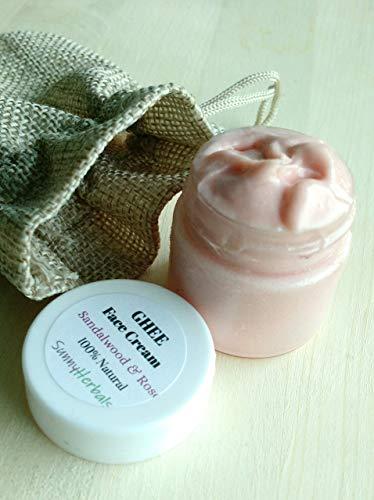 Ghee Face Cream Rejuvenates Moisturizes Hydrates - Makes Skin Elastic Soft Supple - Sandalwood Rose - 100% Natural - USA HANDCRAFTED