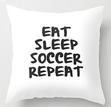 Leiacikl22 Eat Sleep Soccer Repeat White 18 x 18 Decorative Throw Pillow Covers by Leiacikl22