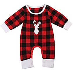 Newborn Baby Boys Girls Long Sleeve Christmas Deer Print Plaid Romper(6-12Months)
