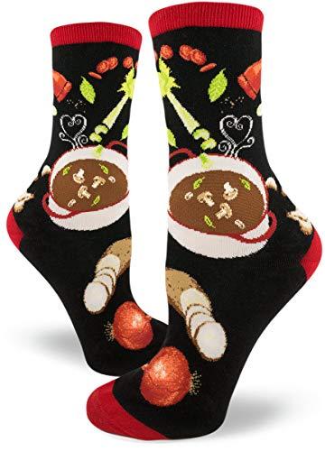 ModSocks Women's Soup's On Crew Socks in Black (Fits Most Women Shoe Size 6-10)