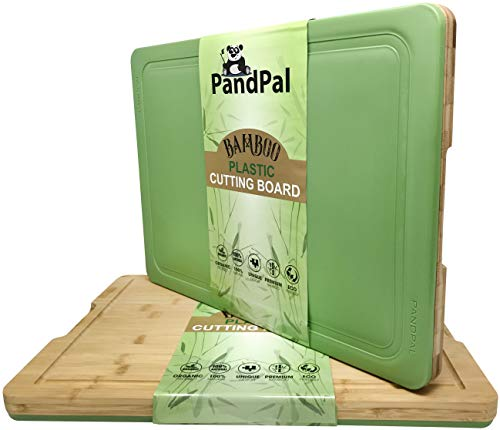 Bamboo Polypropylene Hybrid Cutting Boards for Kitchen - EXTRA LARGE 18 x 13 - Cutting Board & Chopping Board for Meat, Cheese, Vegetables | Organic Antimicrobial & Heavy Duty Butcher Block w/Groove (Bamboo Chopping Board)