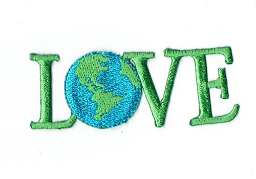 Planet Earth LOVE World Iron on Embroidered Patch (Planet Earth Patches)
