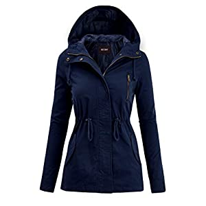 FASHION BOOMY Women's Zip Up Safari Military Anorak Jacket with Hood Drawstring – Regular and Plus Sizes