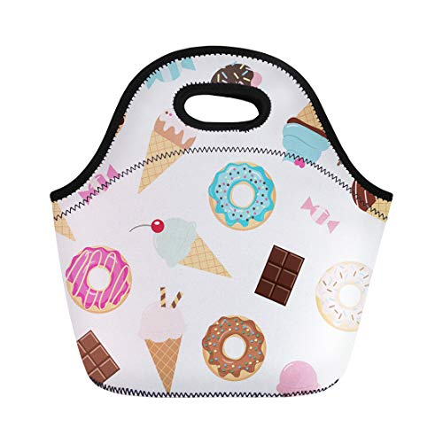 Cream Bag Ice Bar - Semtomn Neoprene Lunch Tote Bag Colorful Birthday Sweets Ice Cream Donuts Cupcakes Chocolate Bar Reusable Cooler Bags Insulated Thermal Picnic Handbag for Travel,School,Outdoors,Work