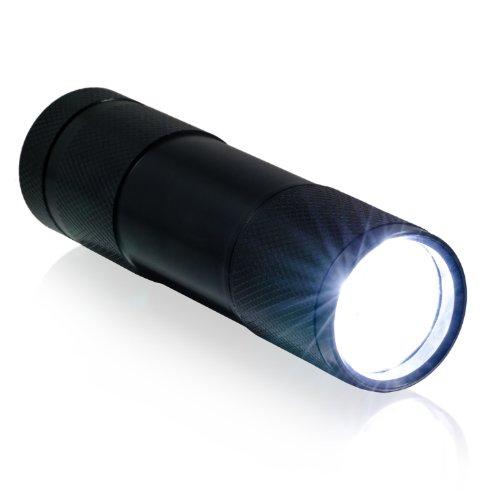 CSL - 9 LED Taschenlampe | energiesparend | Länge: 9cm | Aluminiumgehäuse | witterungsbeständig | in schwarz | inkl. Batterien