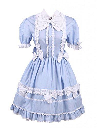 (Cemavin Womens Light Blue Short Sleeves Bow Cotton Sweet Lolita Dress)