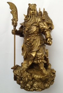 Brass Kwan Kung with Five Flags Statue 6.75