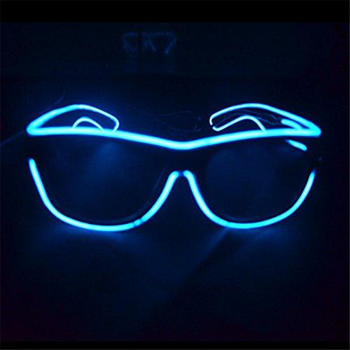 el glasses, el wire with 3v AAA portable controller (Aqua)