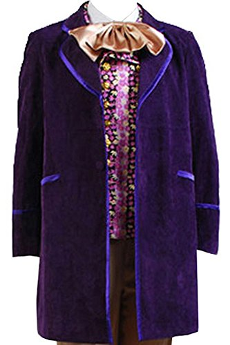 Charlie And The Chocolate Factory Costumes (Willy Wonka and the Chocolate Factory Cosplay Costume Coat +Vest+ Bow Large)