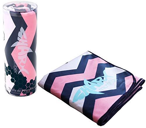 SHARX Toalla de Microfibra Deportiva Grande 80 x 160cm Diseño Chevron Rosa + Toalla Chica de Regalo (Colores Variados)