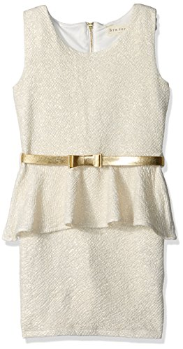 (BTween Big Girls' Special Occasion Metallic Knit Peplum Dress with Elastic Bow Belt, Ivory/Gold,)
