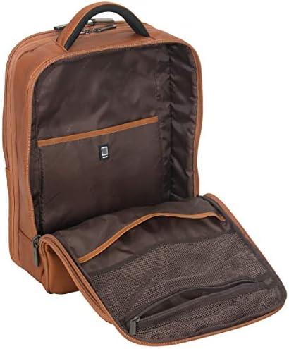 "Kenneth Cole Reaction Manhattan Full-Grain Colombian Leather Laptop Backpack Slim Travel Computer & Tablet Bookbag, Cognac, 16"""
