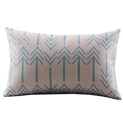 """Create For-Life Cotton Linen Decorative Pillowcase Throw Pillow Cushion Cover Chevron Blue Rectangle 12"""" * 20"""""""