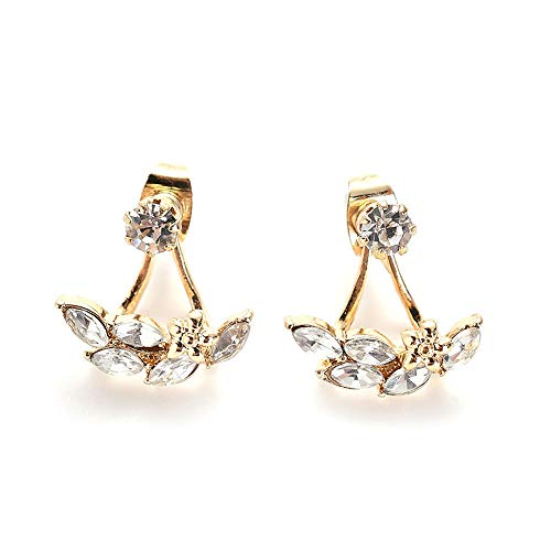 Gtangquhua Metal Flower Leaves, Diamond-Encrusted Stud Earring for Women Costume Jewelry