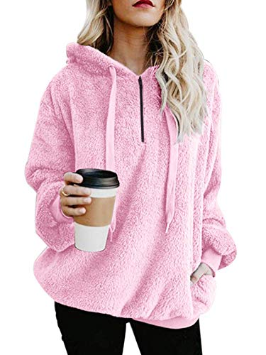 Pink Womens Sweatshirt - Yanekop Womens Sherpa Pullover Fuzzy Fleece Sweatshirt Oversized Hoodie Pockets(Pink,XL)